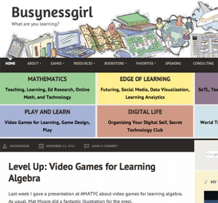 Busynessgirl.com home page main navigation