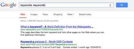 Google search command: keyworda -keywordb