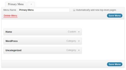 WordPress Menu Example