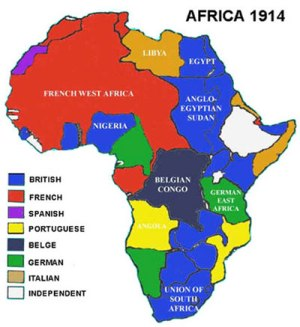 Map of African imperialism from 1914